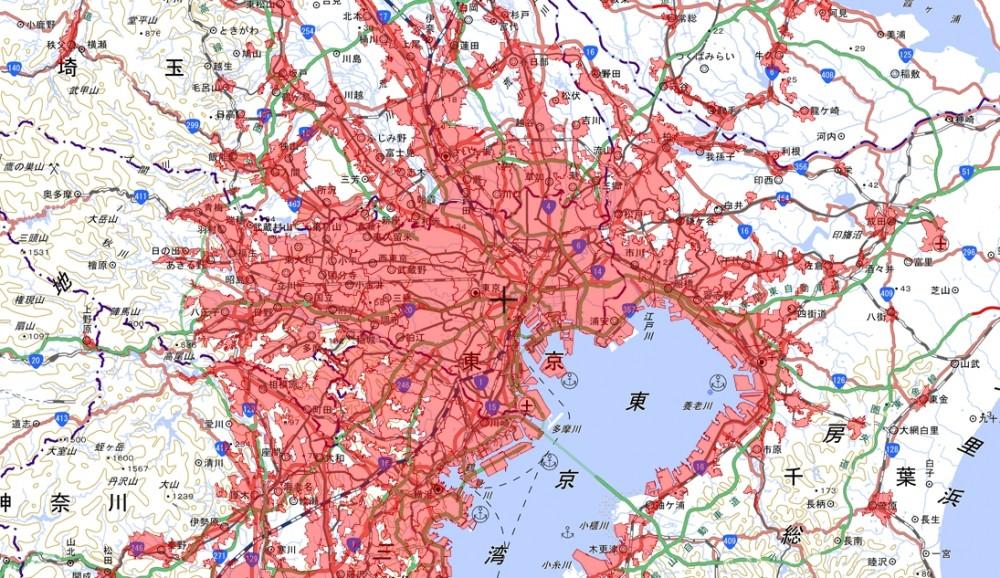 東京の人口集中地区