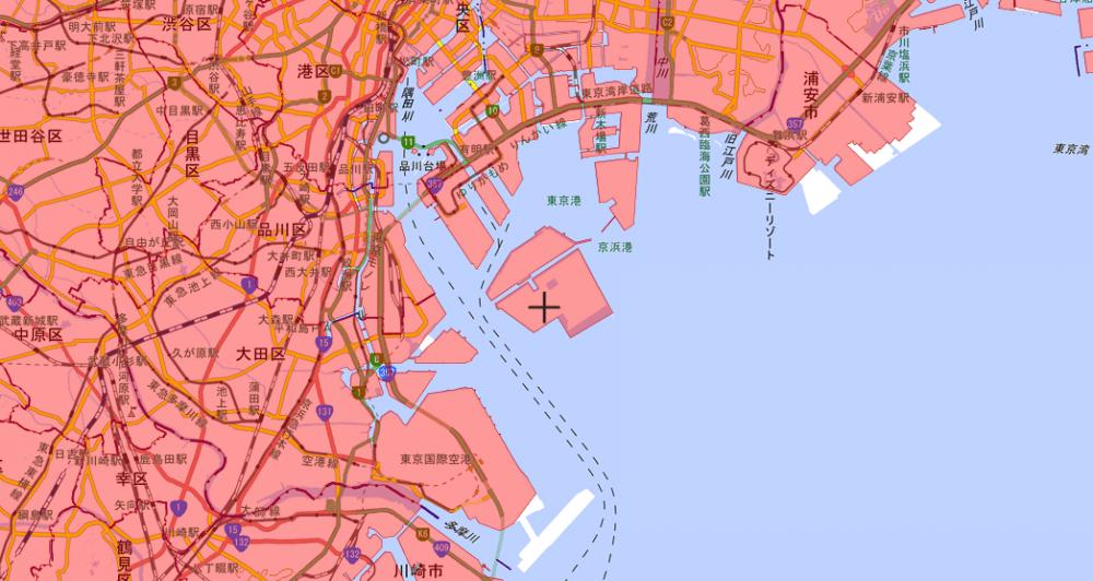 東京湾の人口集中地区